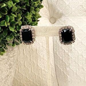 Vintage 80's Black & Clear Rhinestone Earrings*711